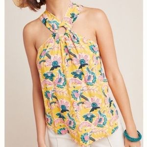 "Maeve [Anthropologie] | Yellow ""Mica"" Halter Tank"